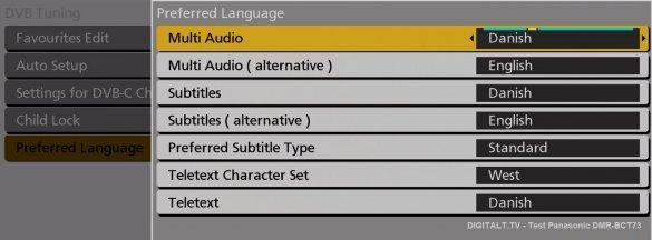 panasonic dmr-bct73  sprog