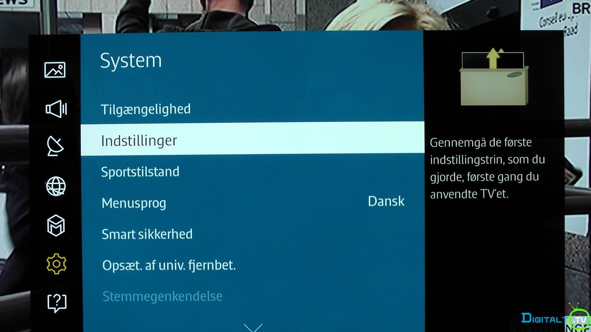 Samsung system indstillinger menu
