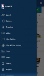 NBA League Pass Android menu
