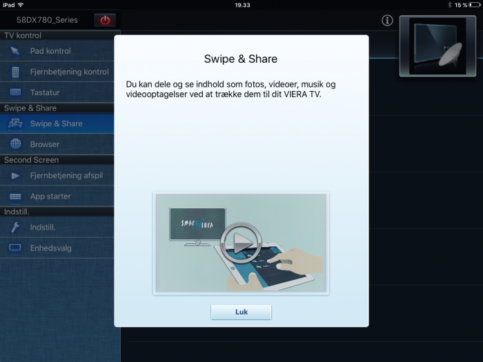 Panasonic TV Remote app swipe share