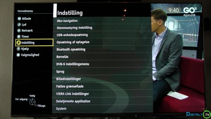 Panasonic indstillinger menu