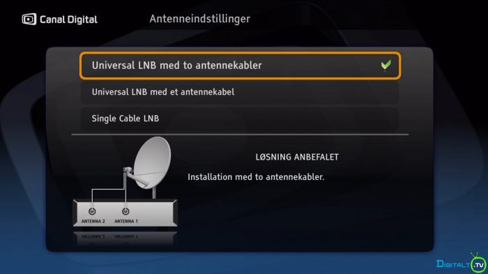 Canal Digital Smart antenneinstlllinger