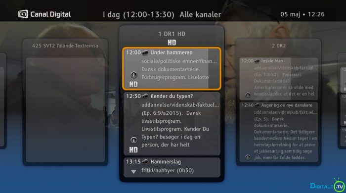 Canal Digital Smart boks EPG Detalje visning