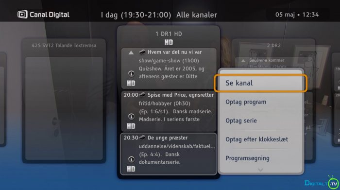 Canal Digital Smart boks EPG optag menu