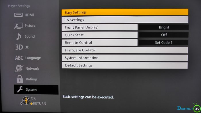 Panasonic UB900 player settings