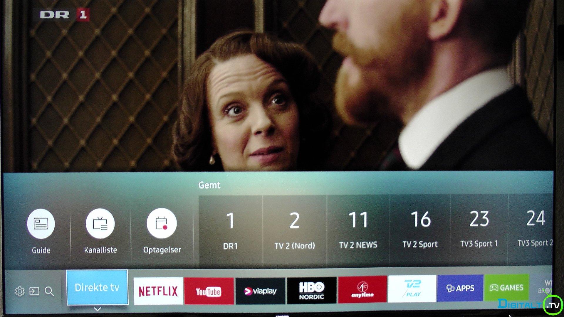 Samsung Tizen 2.0 menu med tv kanaler