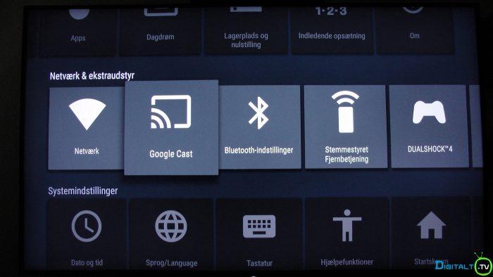 Sony XD9305 Google Cast menu