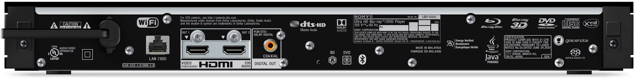 Sony UBP-X800 Ultra HD blu-ray tilslutninger