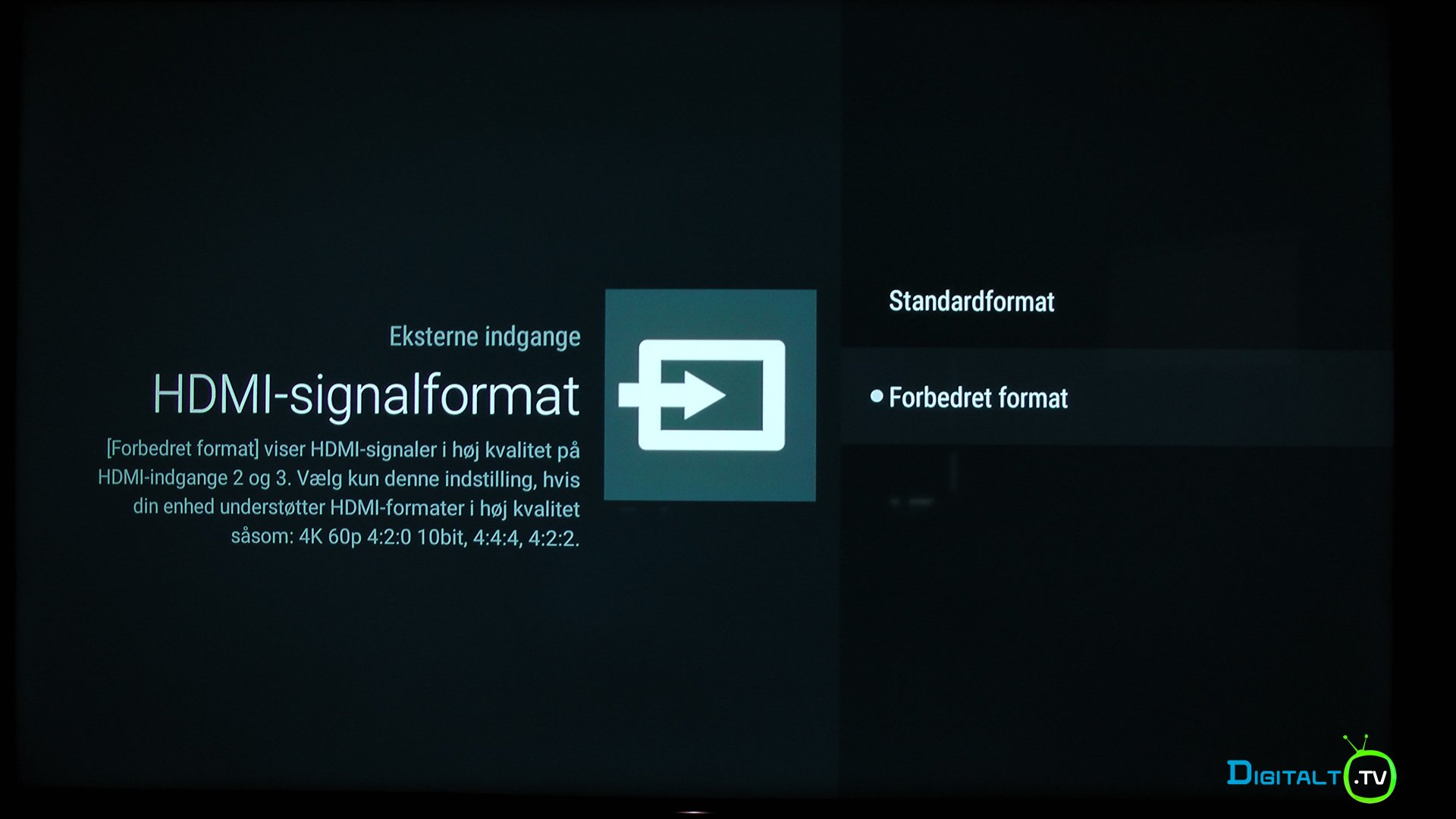 Sony XE9005 HDMI signalformat indstilling