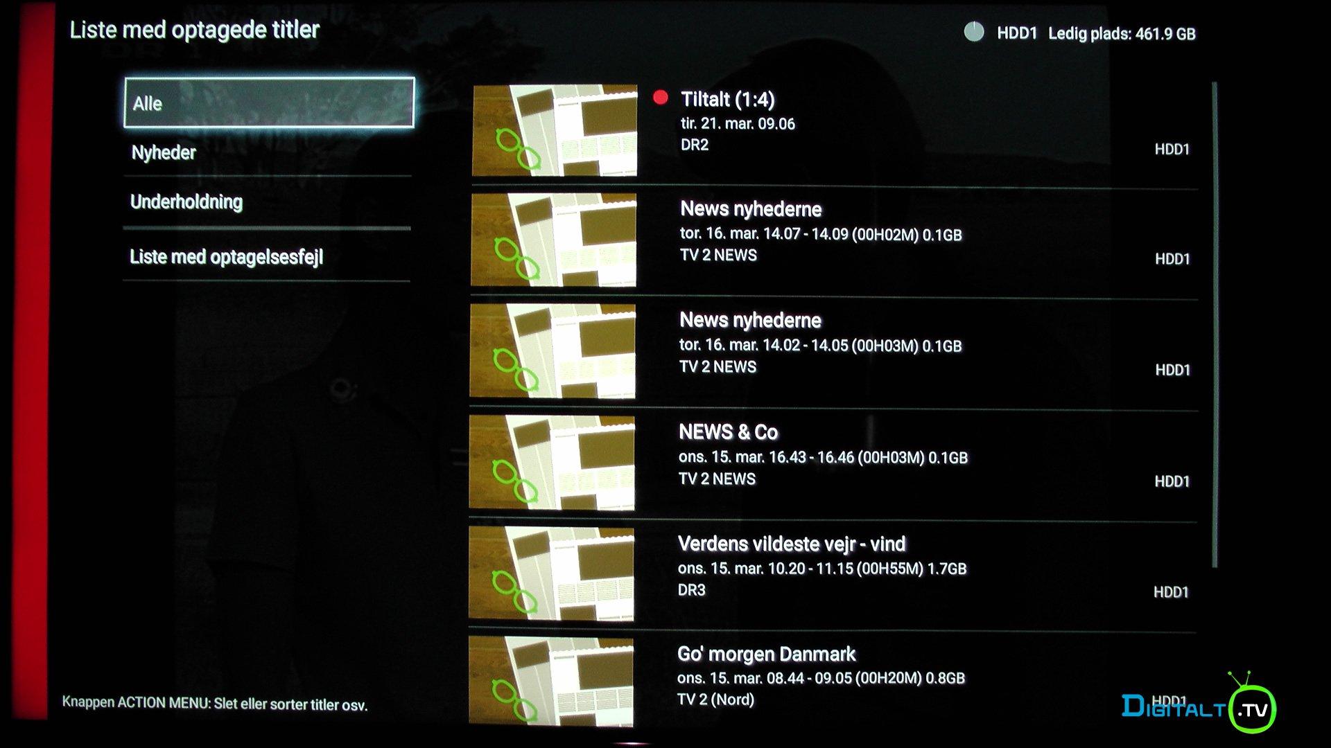 Sony XE9005 Optaget TV liste