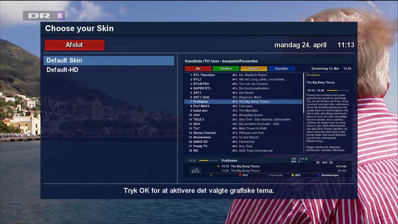 Dreambox skin selector