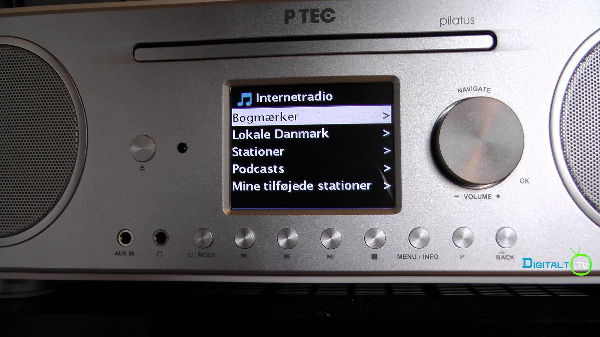 Pilatus Internetradio menu