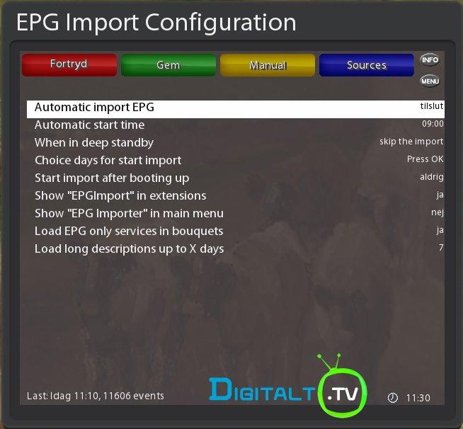 EPG Import configuration