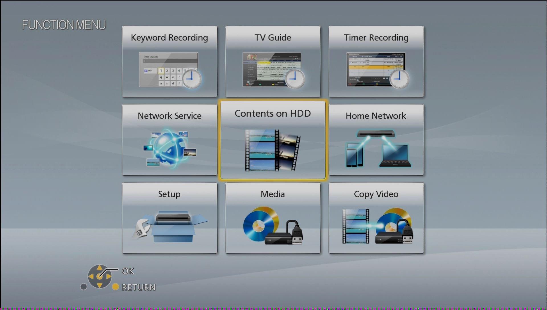 Panasonic DMR UBC86 OSD Function Menu