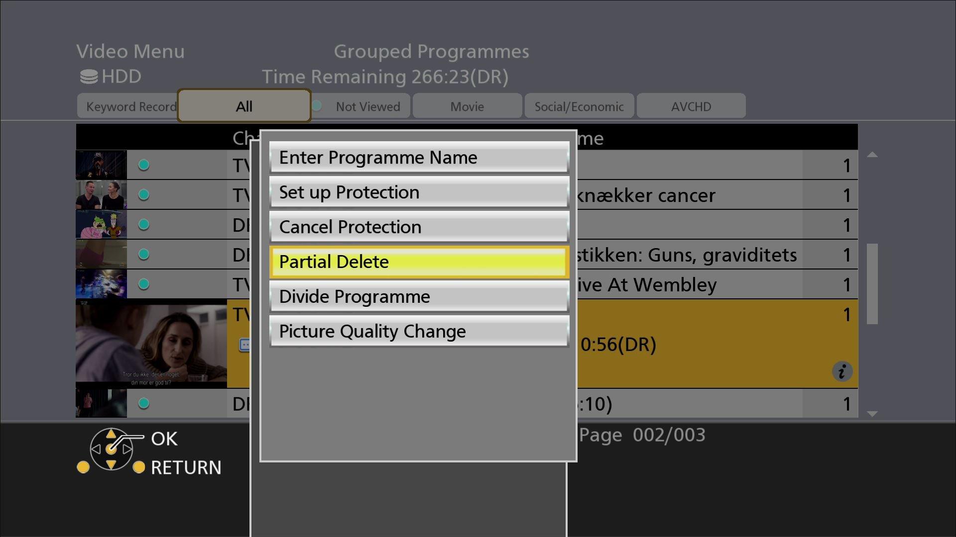 Panasonic DMR UBC86 Rec Edit menu