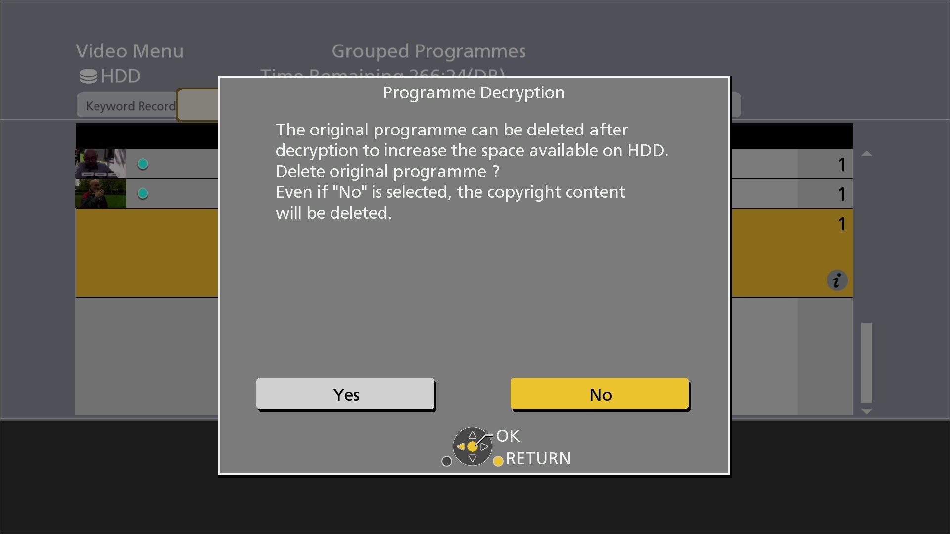 Panasonic DMR UBC86 Rec Programme decryption valg