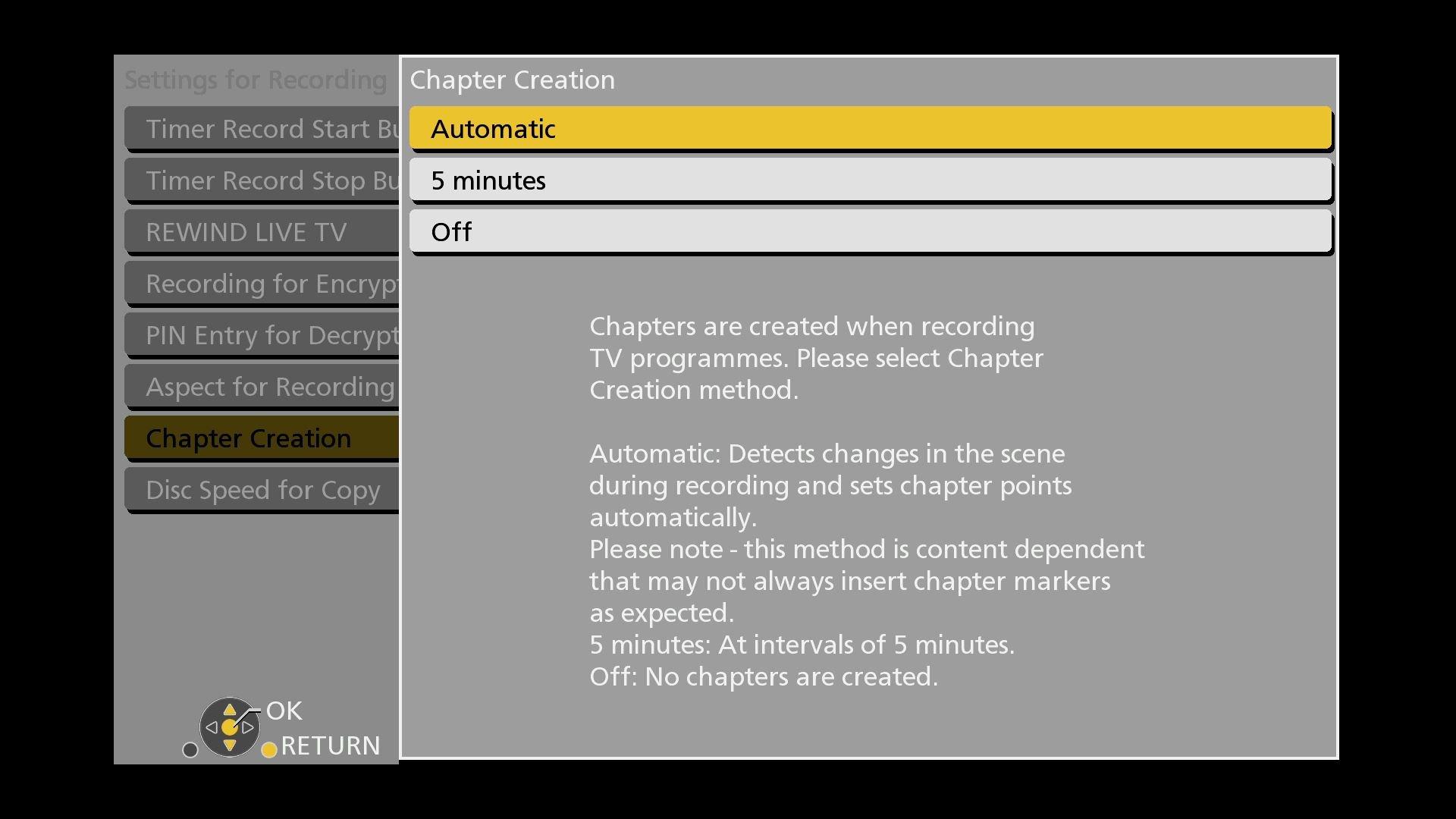 Panasonic DMR UBC86 Settings Chapters