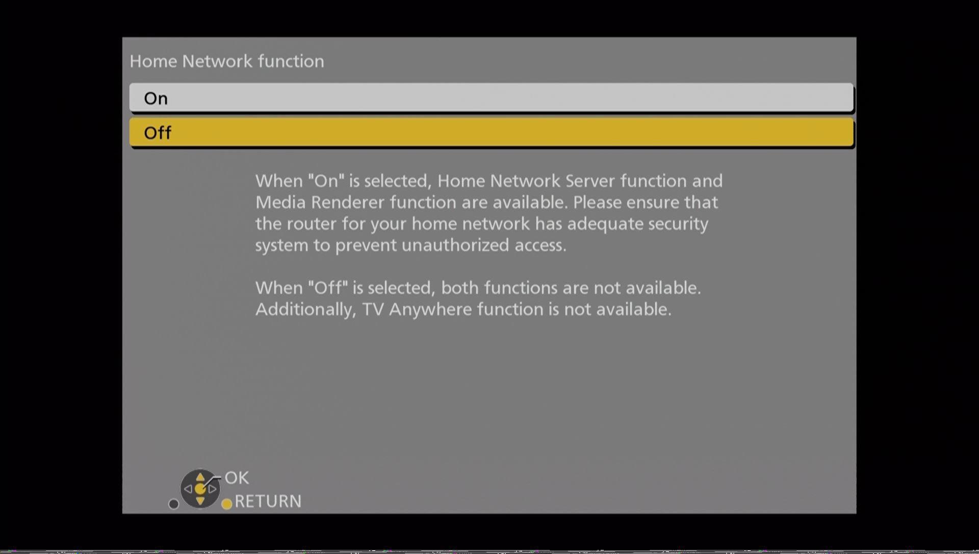 Panasonic DMR UBC86 indstillinger home network funktion