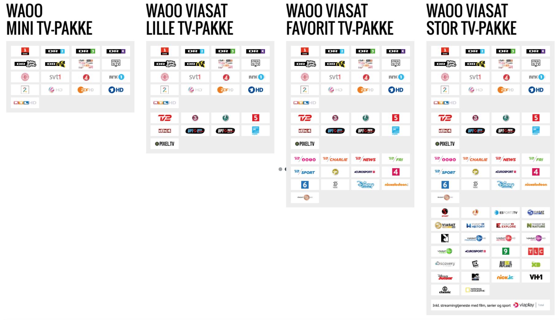 Waoo tv pakker 2018