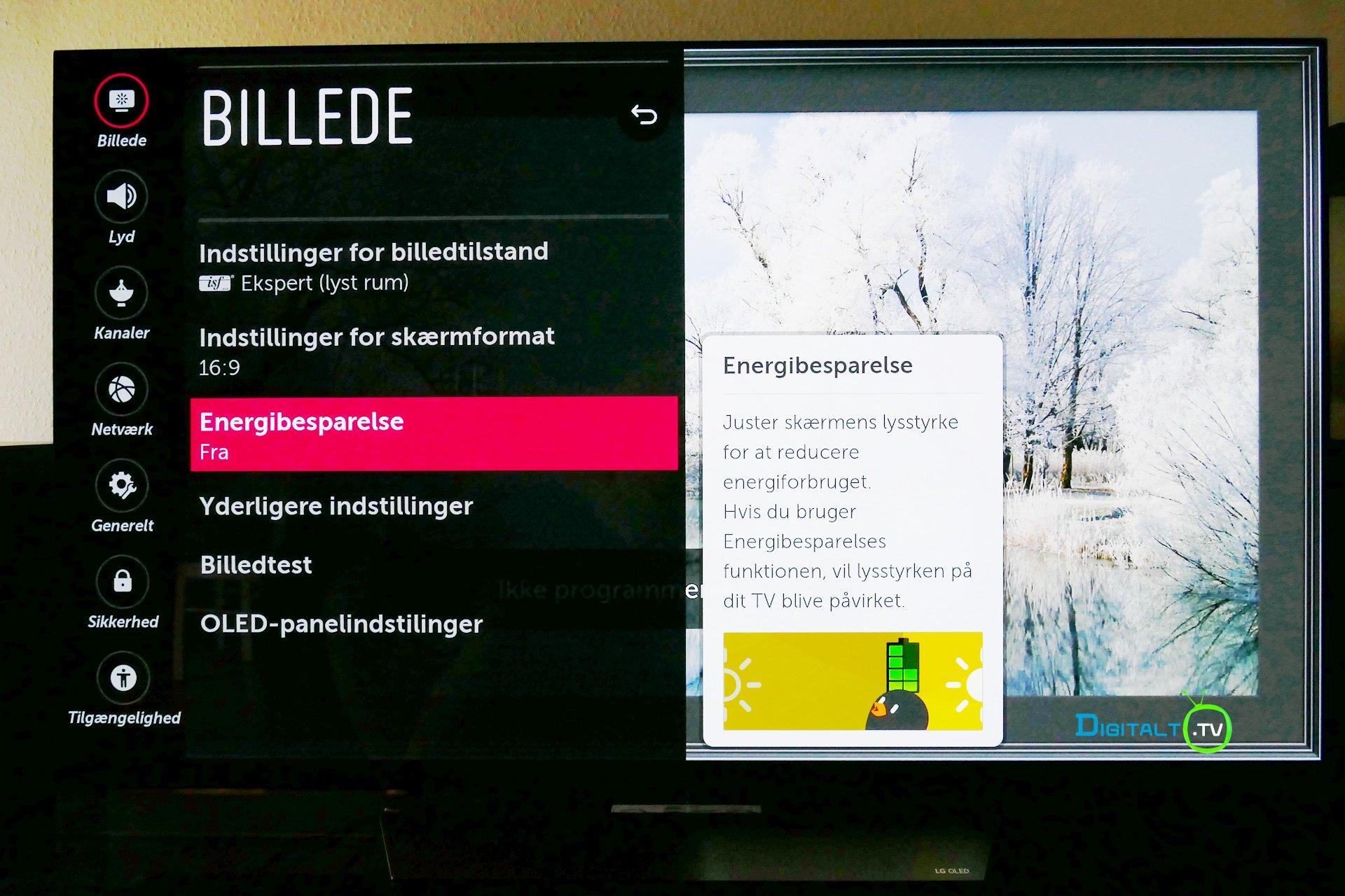 LG OLED Energibesparelse menu