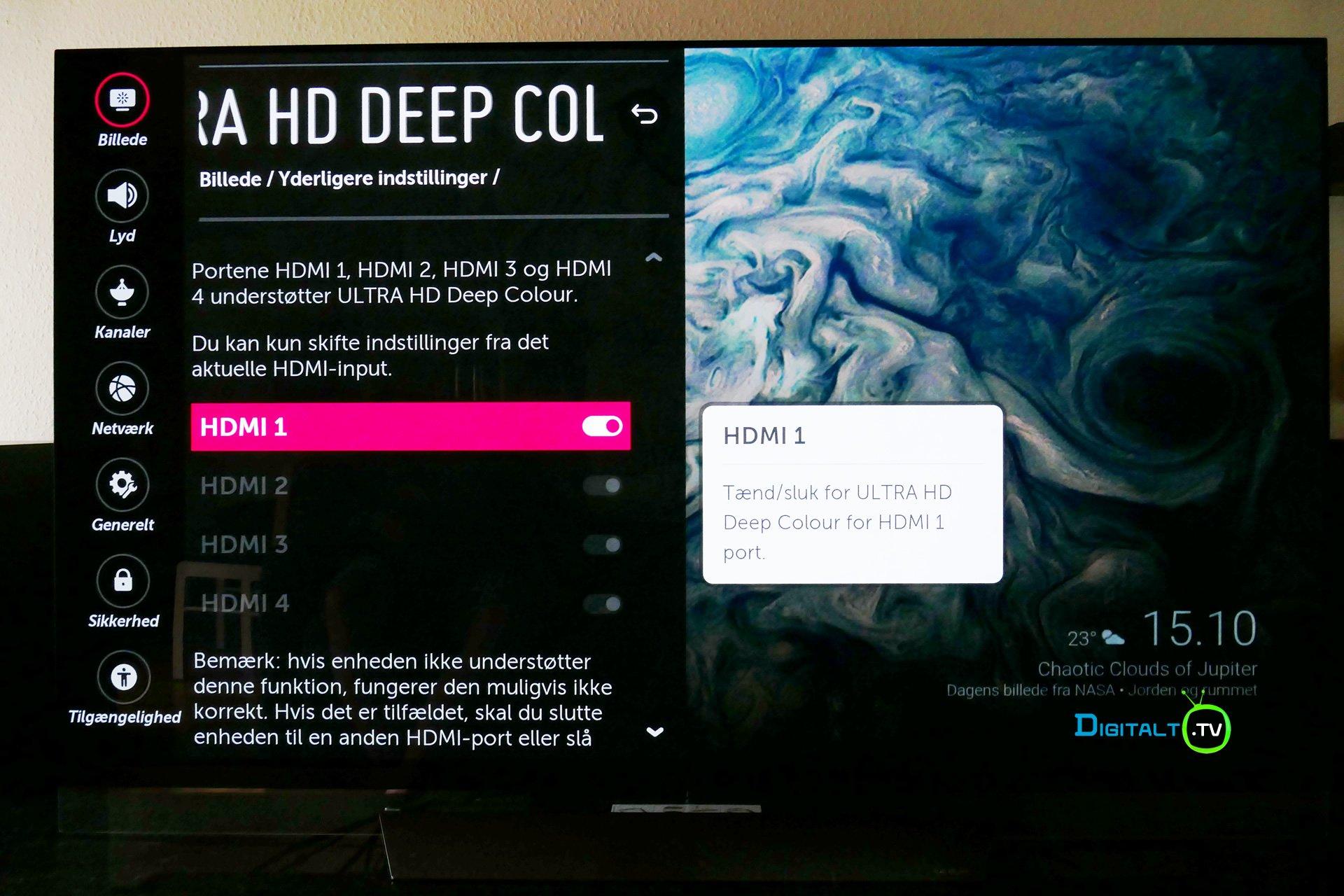 LG OLED Ultra HD deep color indstilling menu