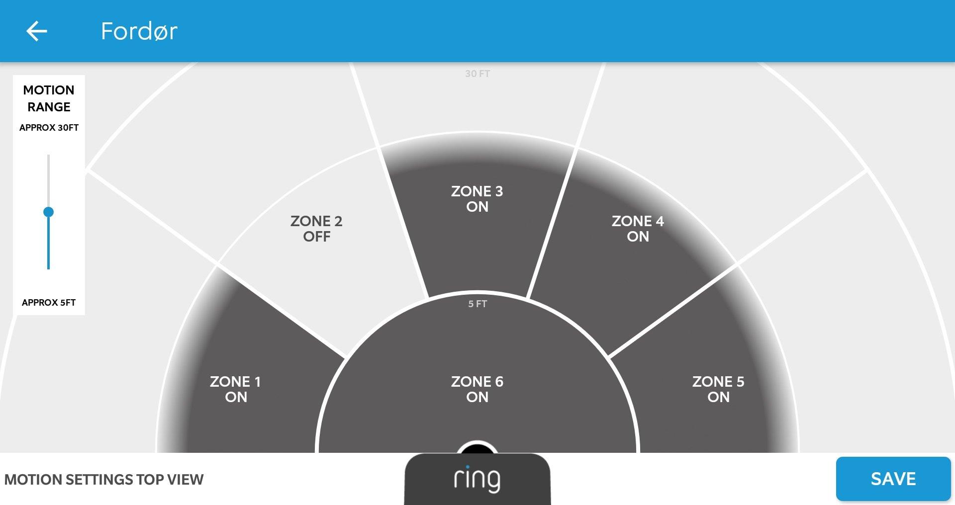 Ring app motion setup
