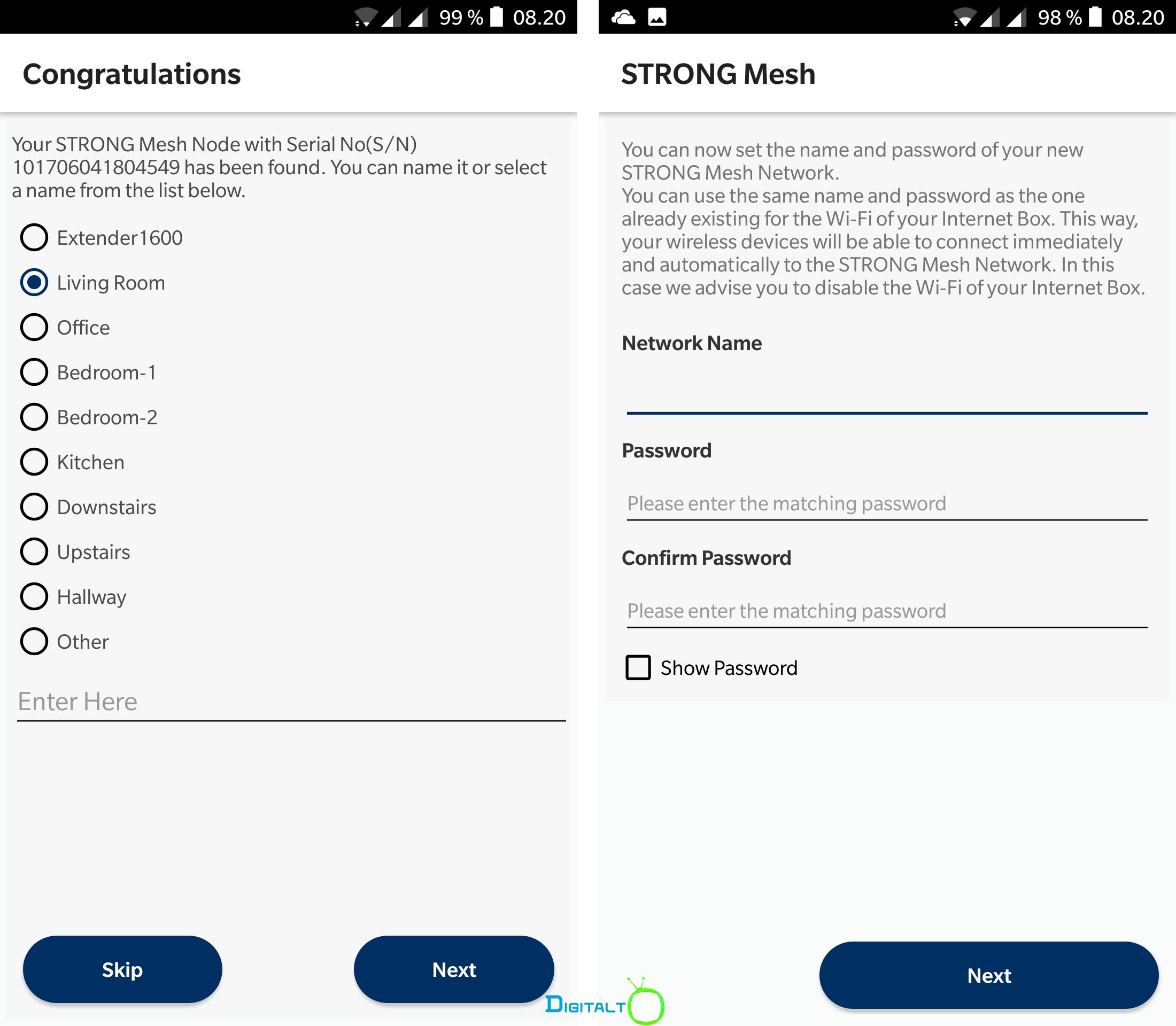 Strong Mesh app Wi Fi setup