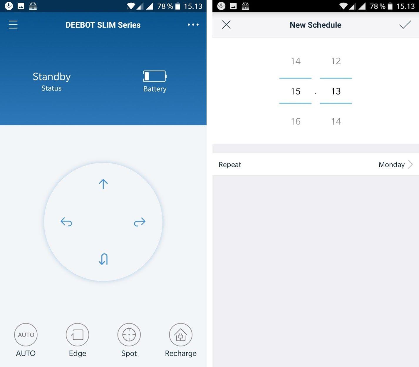 Ecovacs Deebot Slim 2 app screens