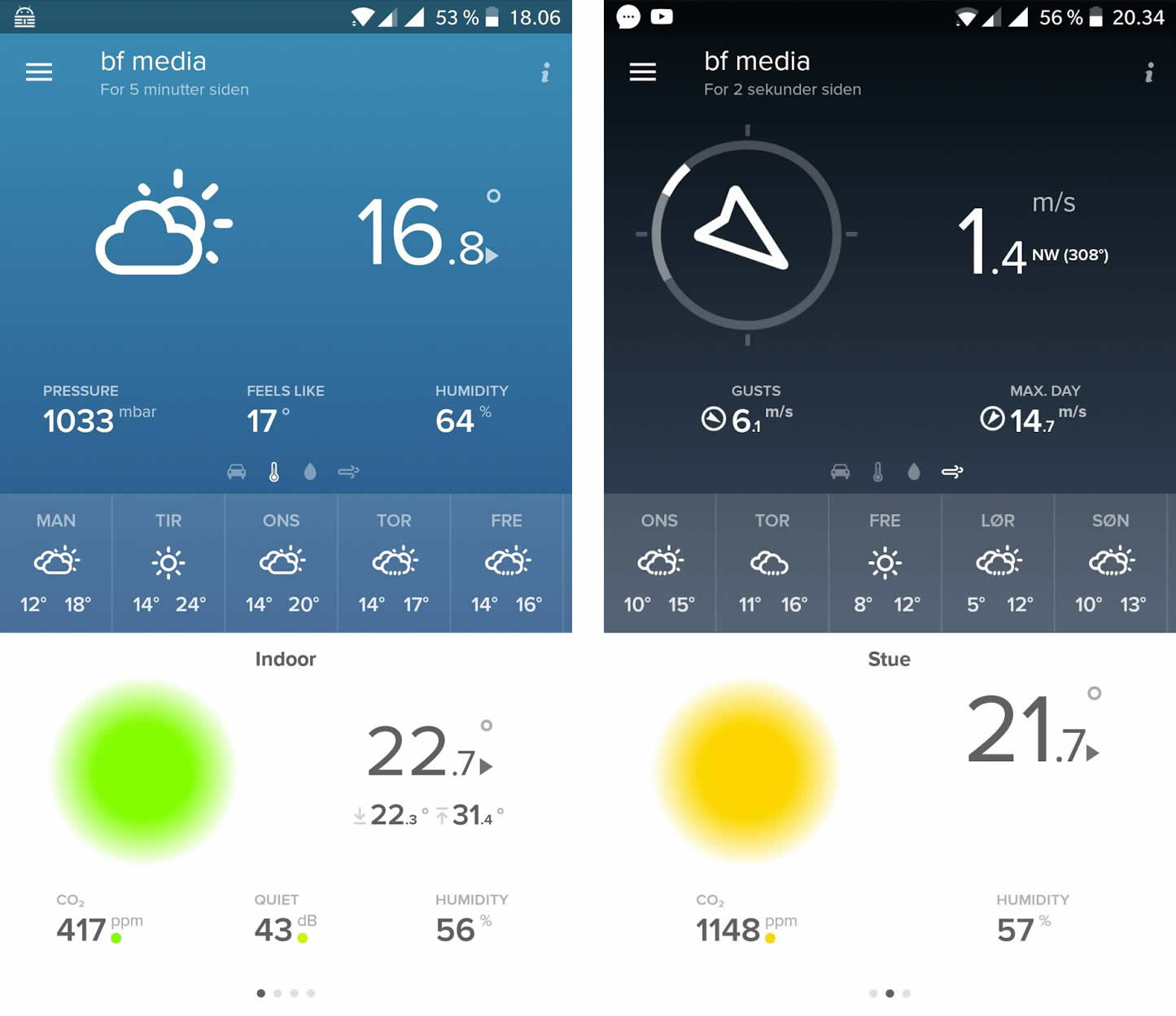 Screenshot Netatmo app