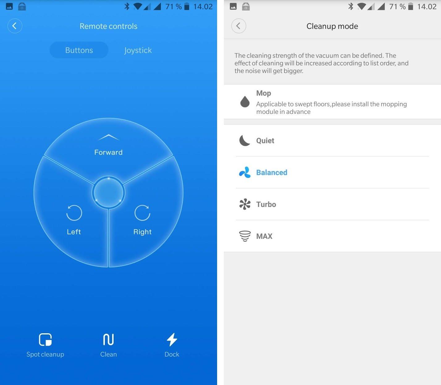 Xiaomi Roborock S50 app screens