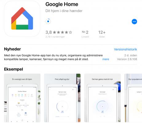 Google Home app iOS