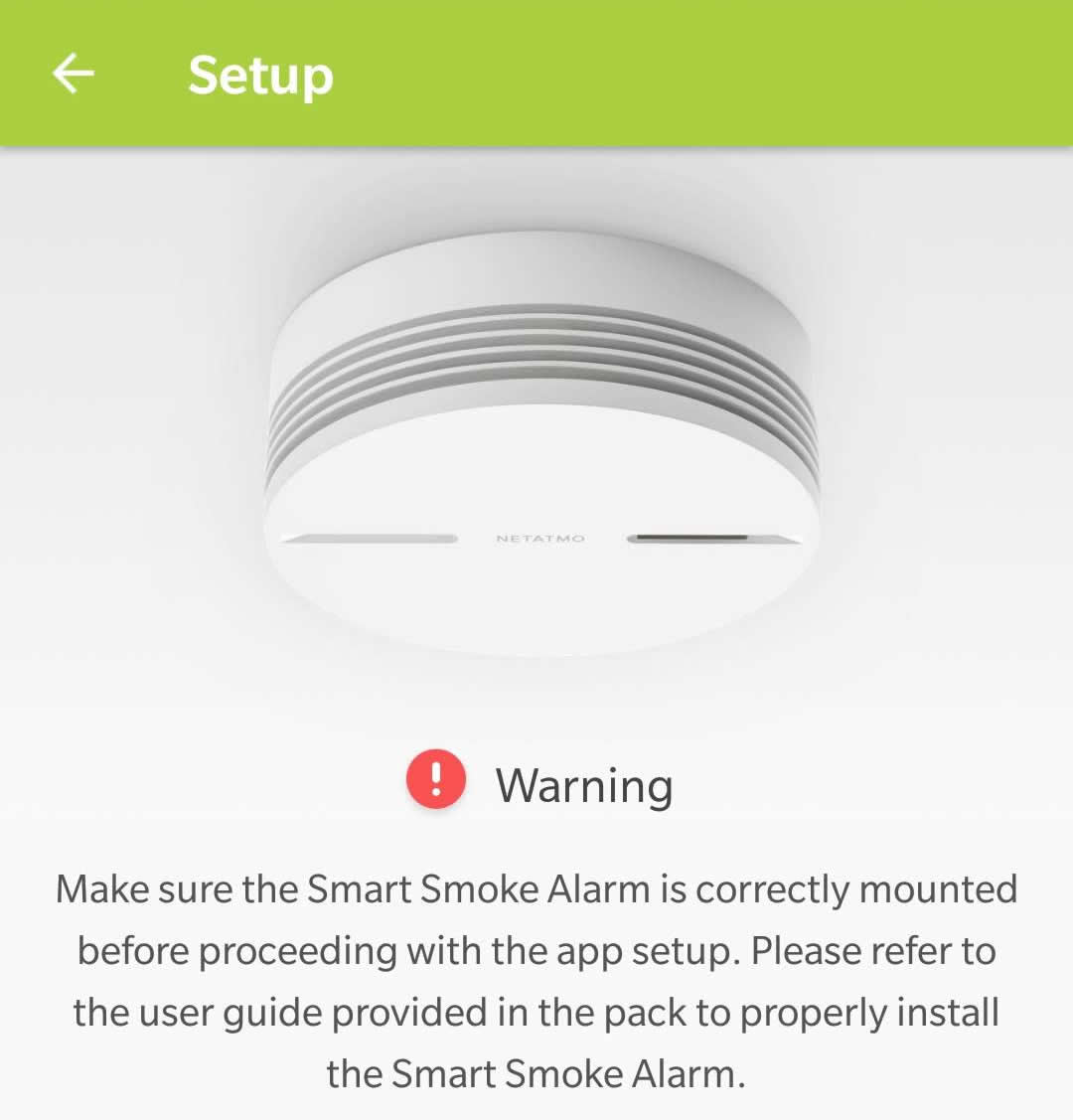 Netatmo Smart Smoke Alarm app install 2