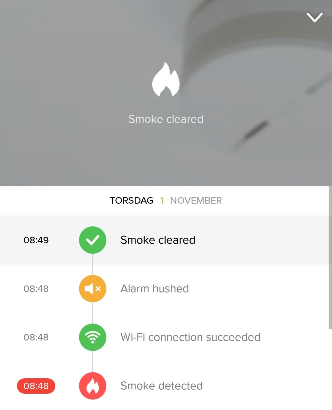 Netatmo Smart Smoke alarm app Screenshot