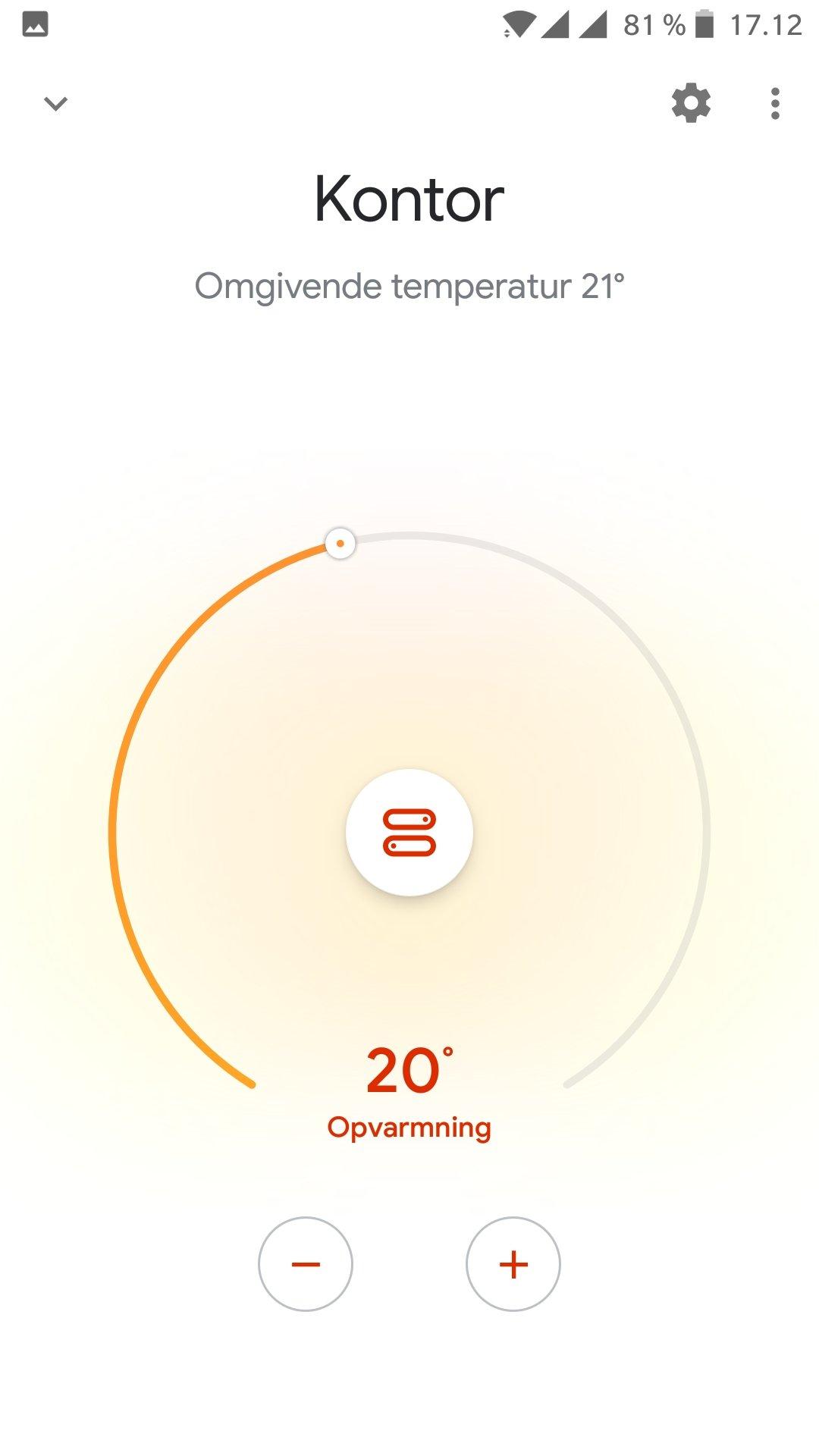 Tado styring i Google Home app