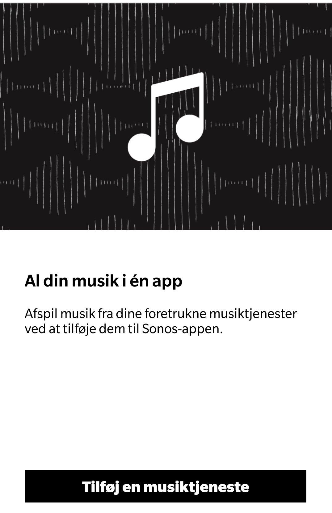 Sonos One app musiktjenester