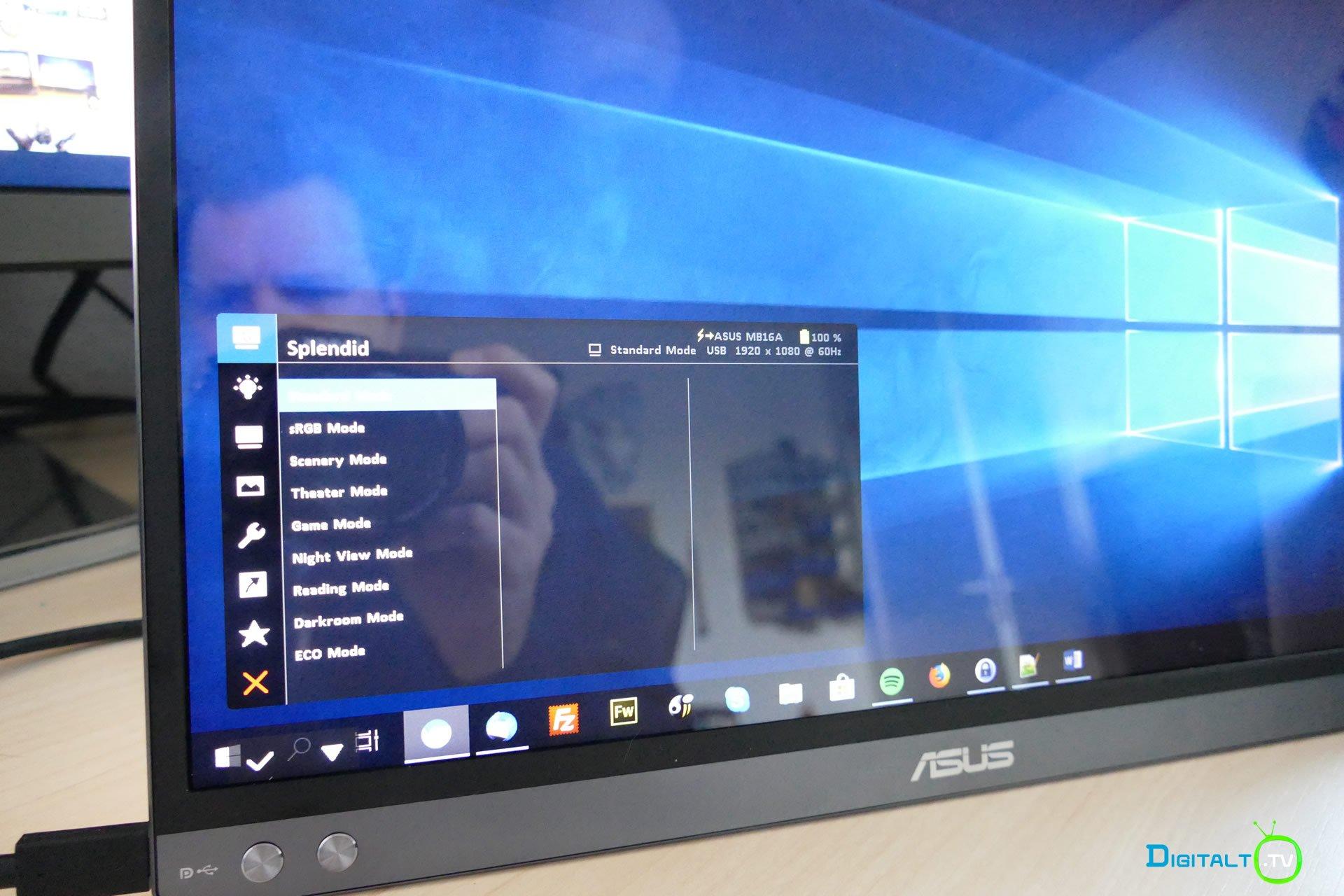 ASUS ZenScreen Go MB16AP menu
