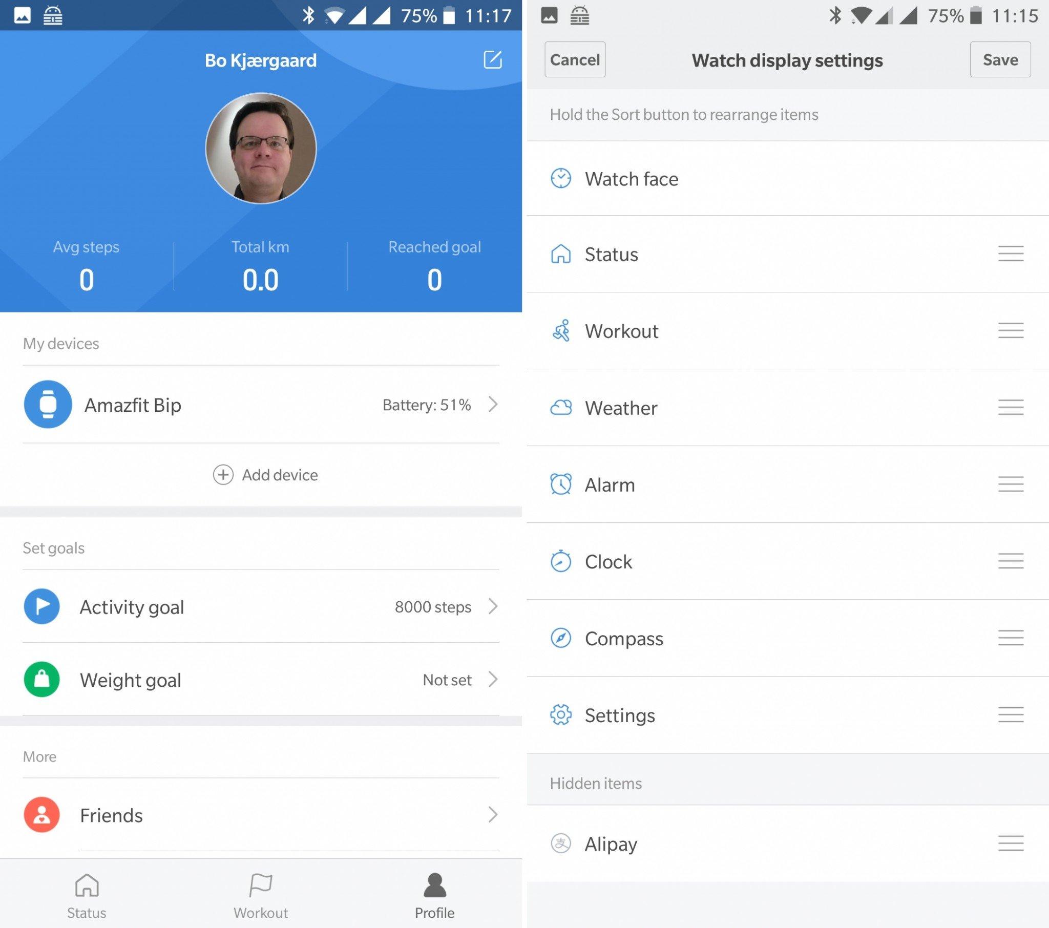 Amazfit Bip mii fit app