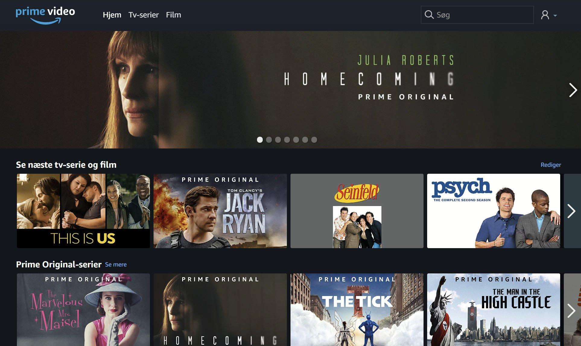 Amazon Prime Video screenshot Dansk