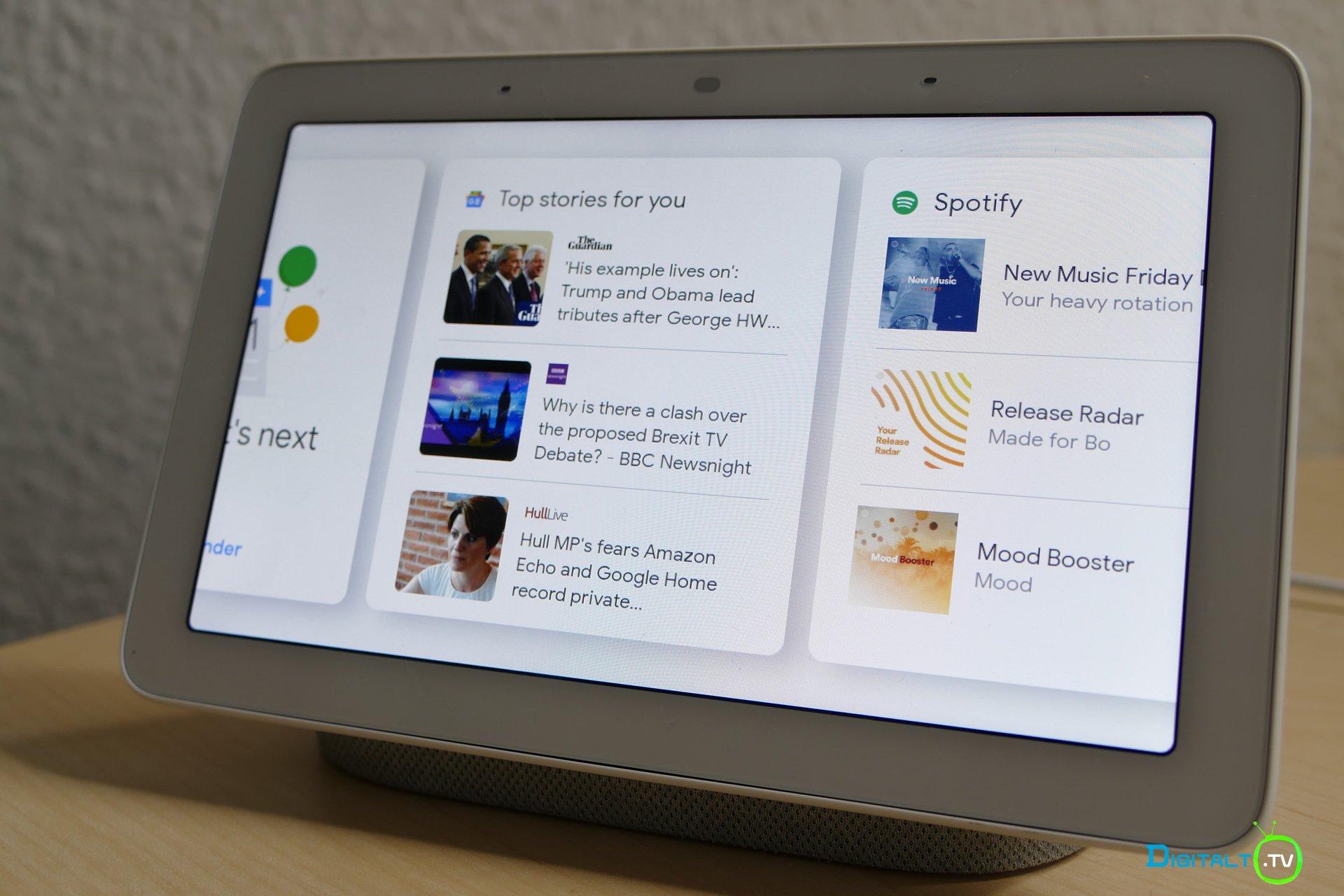 Google Home Hub hovedmenu swipe