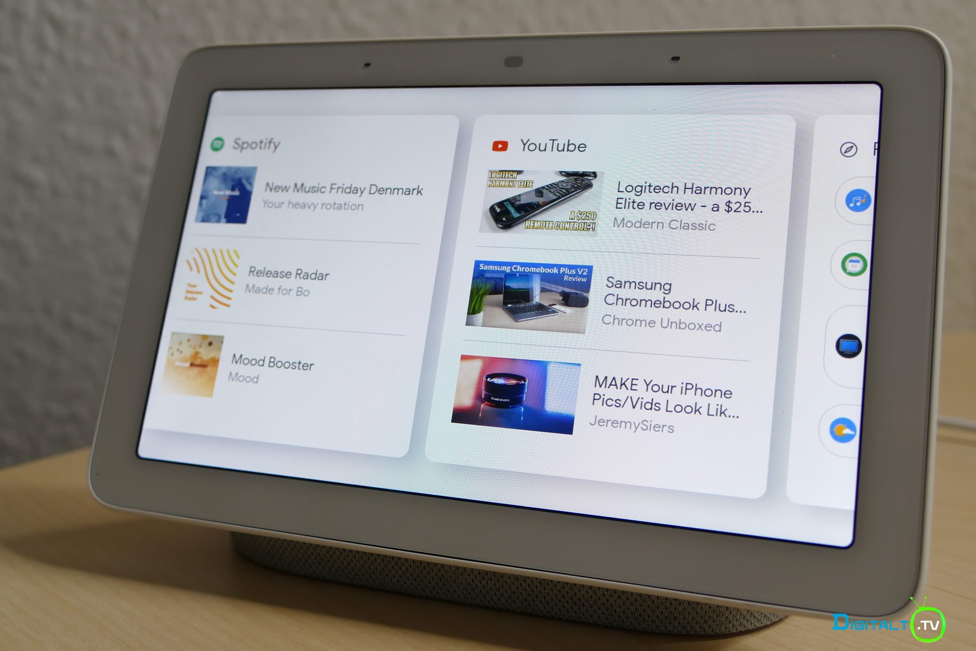 Google Home Hub menu youtube