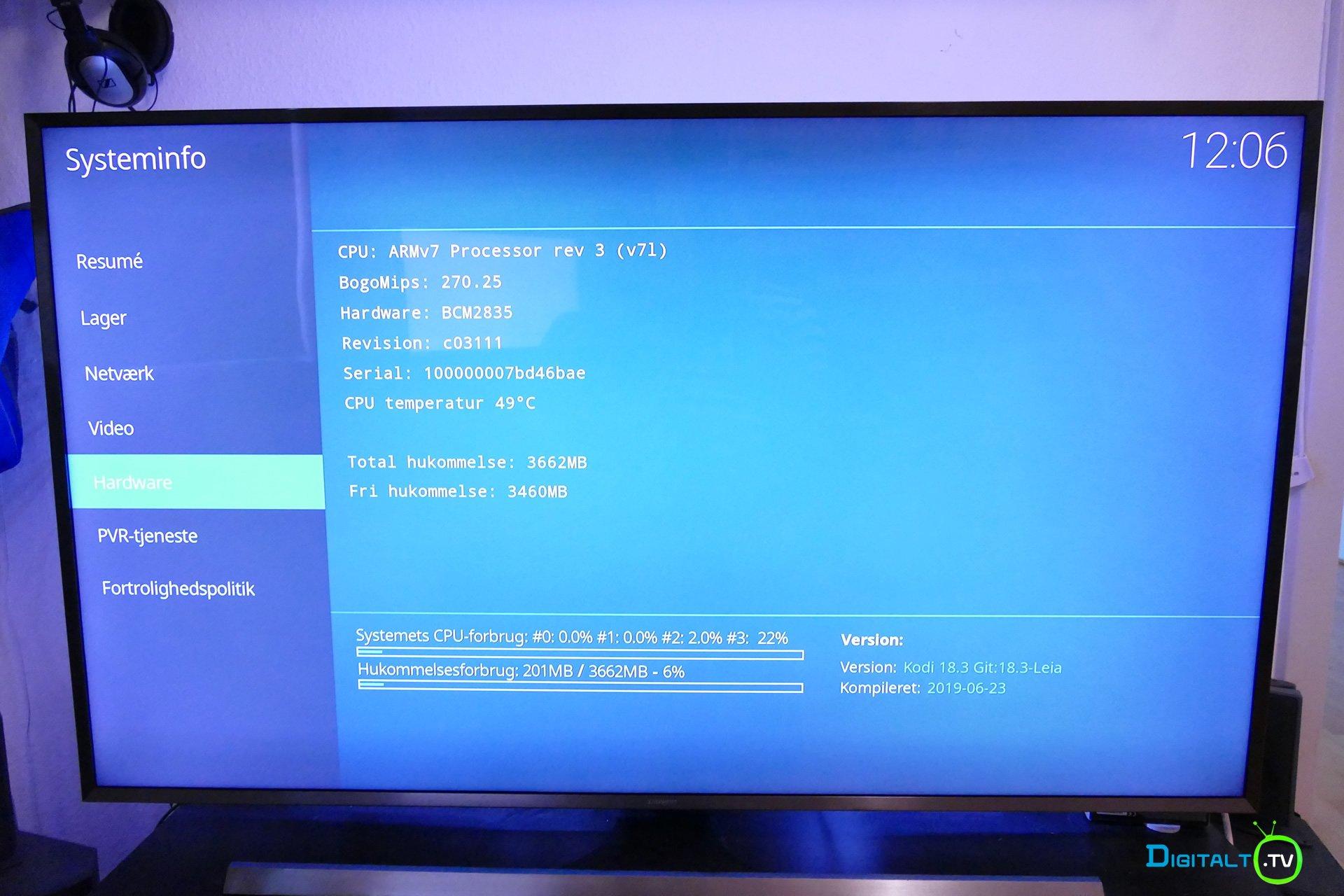 Kodi Raspberry pi 4 systeminfo