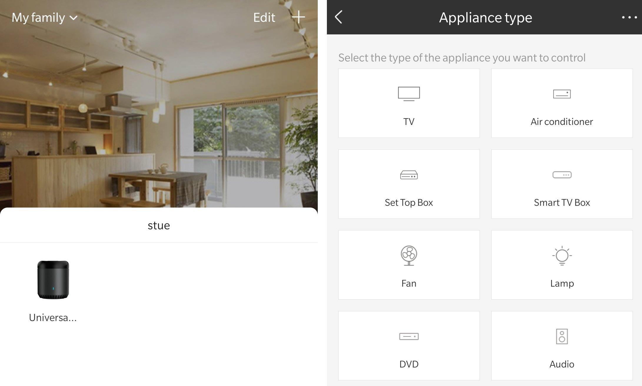 Broadlink RM MINI 3 Screenshot app setup