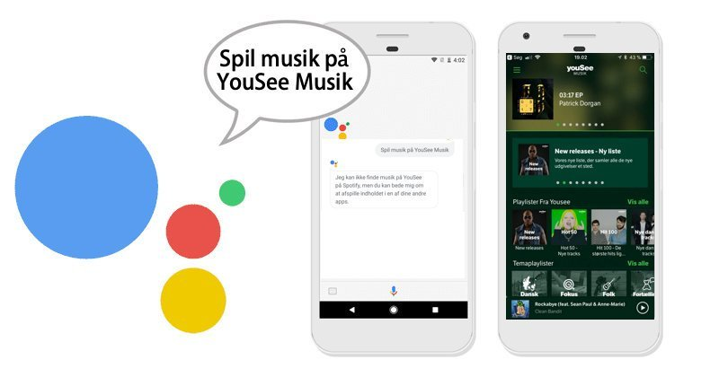 Google Assistant YouSee Musik