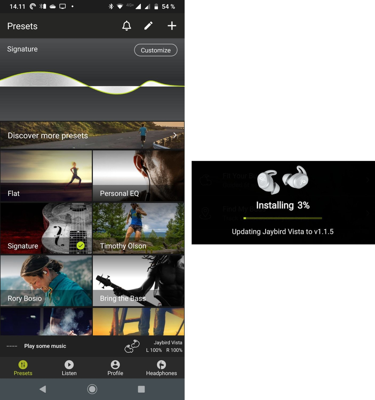 Jaybird Vista app firmware update