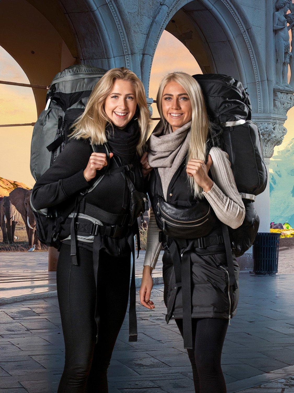 Først til verdens ende TV 2 Søstrene Johanne (tv) og Josefine (th).