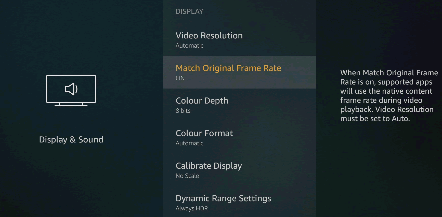 Amazon Fire TV Stick 4K display indstillinger