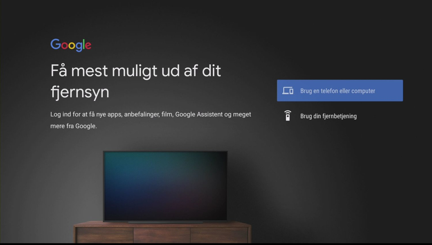 Android TV setup Google konto