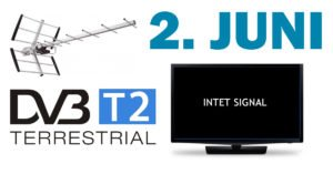 2 juni dvb-t2 skifte sort skærm