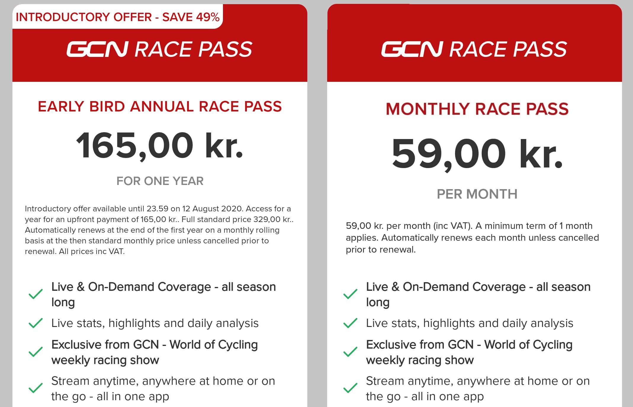 GCN Race Pass priser
