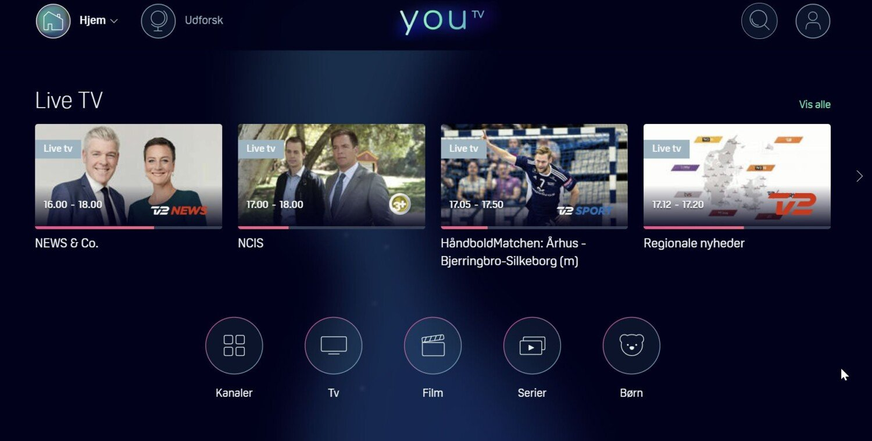 YouTV hovedskærm